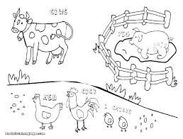 Farm Animal Coloring Pages For Kindergarten Colouring Printable Free