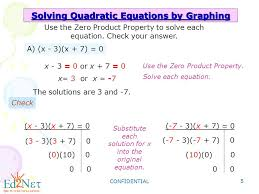 confidential 5 solving quadratic equations by graphing use the zero property to solve each equation