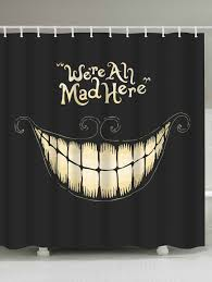 funny shower curtain. Halloween Funny Smiling Fabric Shower Curtain - BLACK W71 INCH * L79 U