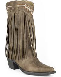 zoomed image roper women s brown fringe faux leather western boots pointed toe brown hi