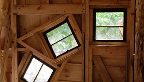 tree house pictures. Interior View Of Three Erratically Placed Windows In A Treehouse Tree House Pictures