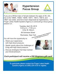 focus group flyers high blood pressure focus group for 14613 residents