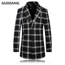 2017 winter mens fashion thicken plaid jacket high quality casual wool trench coat jackets wool men
