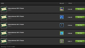 dota 2 international 2013 tickets listed on the steam marketplace