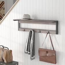 Wall Mounted Coat Rack With Hooks And Shelf Loon Peak Junien 100 Shelf 100 Hook Entryway Wall Mounted Coat Rack 41