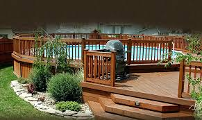 above ground round pool with deck. Above Ground Pool Decks Round Floating With Wooden  Used Swimming . Deck S