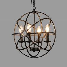baycheer industrial vintage wrought iron metal globe chandelier