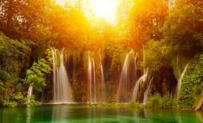 sunrise waterfall wallpaper hd