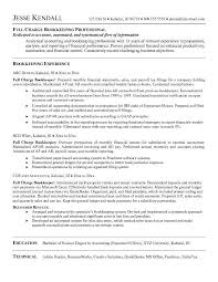 Accounting Resume Cover Letter Glamorous Full Charge Bookkeeper