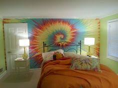 Items similar to Tie Dye inspired fresco rainbow wall mural, custom hand  painted child's kids room wall painting.