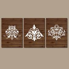 damask wall art artwork wood grain pattern french country design white set of 3 trio on damask wood wall art with damask wall art artwork wood grain from trm design wall art