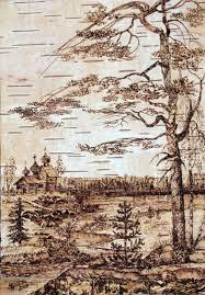 Landscape painting on birch bark by Karelian artist Kristina Petrova