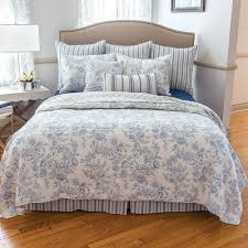 clementina blue full queen quilt set white french toile williamsburg comforter
