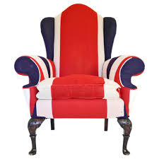 union jack upholstered queen anne wing back chair for