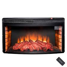 akdy freestanding electric fireplace insert heater black inserts chimney free with curve tempered glass and camping