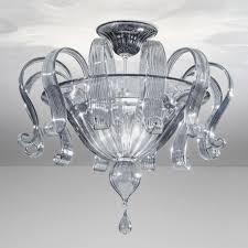 marinella murano glass ceiling light 6 lights smoke