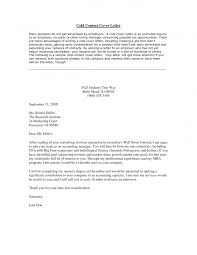 Cover Letter Customer Service Cold Contact Cover Email To
