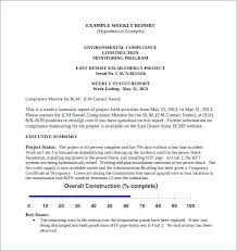 Project Status Template Report Free Excel Sample Weekly Synonym