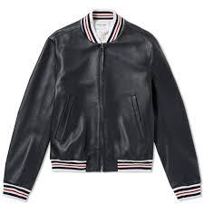 thom browne deerskin leather varsity jacket black 1