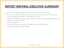 Executive Summary Sample Document Overview Example Wba Of