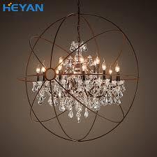 loft nordic american bar retro industrial wrought iron chandelier crystal globe clothing restaurant spherical