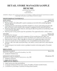 Clothing Store Manager Resume Sample Resume Summary Retail Assistant Unique Resume Sample For Store Manager