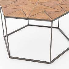 faceted wood hexagon coffee table