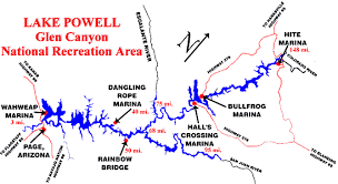 Map Of Lake Powell With Mile Markers In 2019 Lake Powell