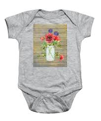 Rustic Country Red Poppy w Alium n Ivy in a Mason Jar Bouquet on Wooden  Fence Onesie for Sale by Audrey Jeanne Roberts