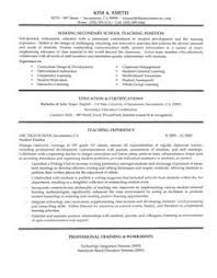Secondary School Teacher Resume Sample. Notice the job description and  don't forget the
