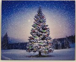 Lighted Christmas Artwork Oak Street Winter Christmas Tree Led Art 17 X 14 Canvas Light Up Picture 6 Hour Timer