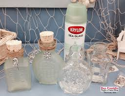 we used the krylon sea glass spray paint to cover the entire glass jar it provides a sophisticated beach inspired look with soothing coastal colors