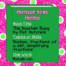 best mentor texts images teaching ideas  iteach 1 1 math mentor text linky fractions