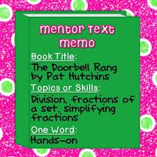 best mentor texts images teaching ideas  iteach 1 1 math mentor text linky fractions