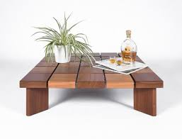 low square coffee table in solid iroko