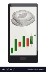 Ethereum Coins With Candlestick Chart On A Phone Vector Image On Vectorstock