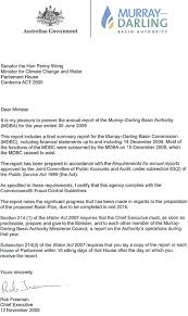 Letters Of Transmittal Murray Darling Basin Authority Annual Report 2008 09