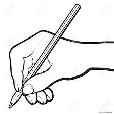 Coloriage Main Avec Un Crayon Dessin