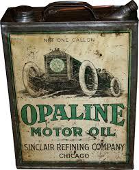 sinclair opaline race car graphics oil can usa 1918