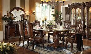 Pedestal Dining Table Set Acme Vendome 7pc Double Pedestal Dining Room Set With Glass Table