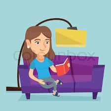 smiling woman reading a book on a sofa young woman sitting on a sofa and reading a book vector cartoon ilration