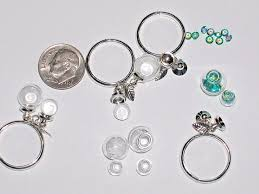 details about glass 2 globe ring antique fillable findings supplies ring pendant locket bottle