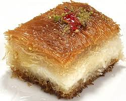 source public domain various options are available for the base and crust of the knafeh slice into squares