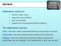 elaboration grade lesson elaborate in your own essay writing  2 review elaboration
