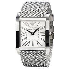 emporio armani ar2014 mens silver dial mesh bracelet designer watch