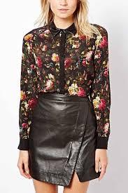 black faux leather lapel fl print shirt 008775 womens shirts blouses women shirts on down shirts long sleeve shirts blouses peasant