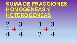suma de fracciones geneas y heterogeneas