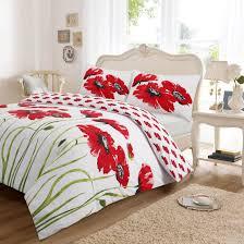 white red poppy double duvet set
