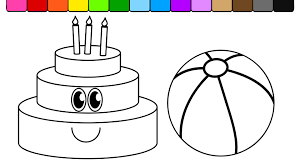 Small Picture Learn Colors and Color this Smiley Face Birthday Cake and Beach