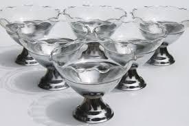 vintage ice cream parlor dessert dishes glass bowls w art deco chrome metal holders